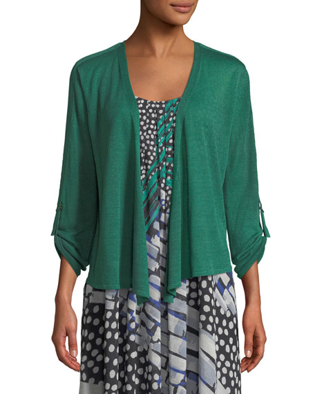 Take Comfort Tab-Sleeve Four-Way Cardigan, Petite