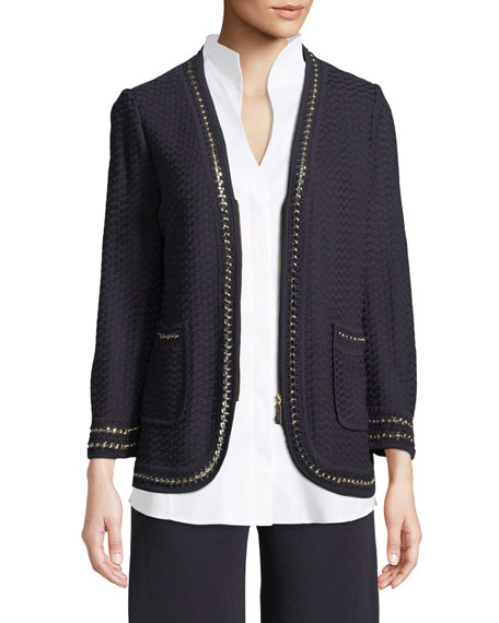 Misook Chain-Detail Knit Jacket, Petite