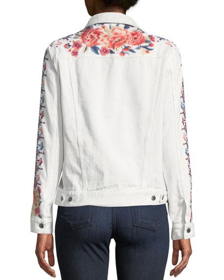 Denim Jacket with Embroidery, Petite