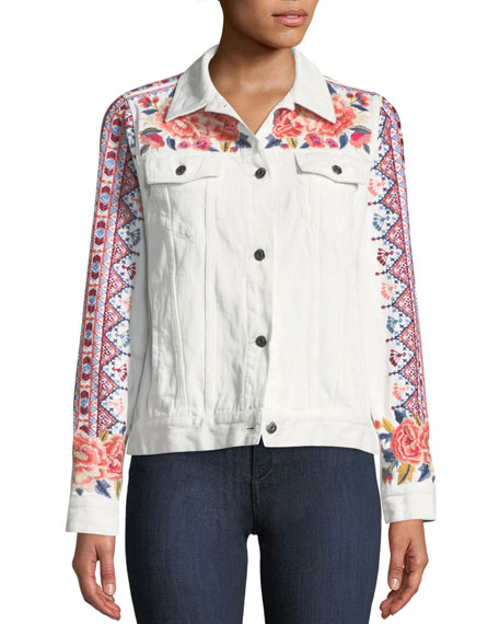 Denim Jacket with Embroidery, Plus Size