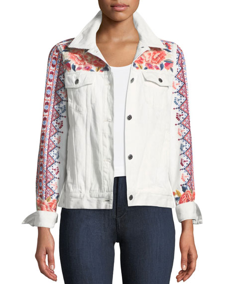 Johnny Was Denim Jacket with Embroidery, Plus Size