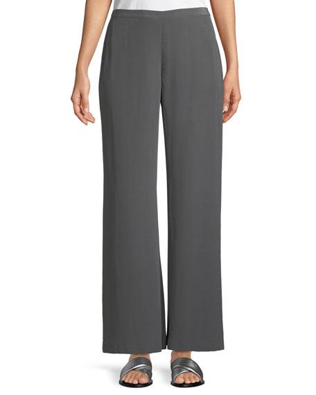 Full-Leg Silk Crepe Pull-On Pants, Petite