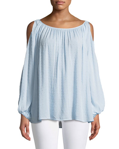 Pearl Cold-Shoulder Long-Sleeve Top