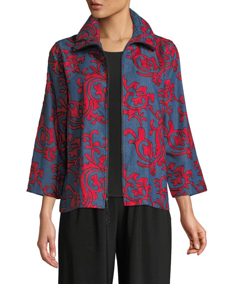 Divinely Denim Embroidered Jacket, Plus Size