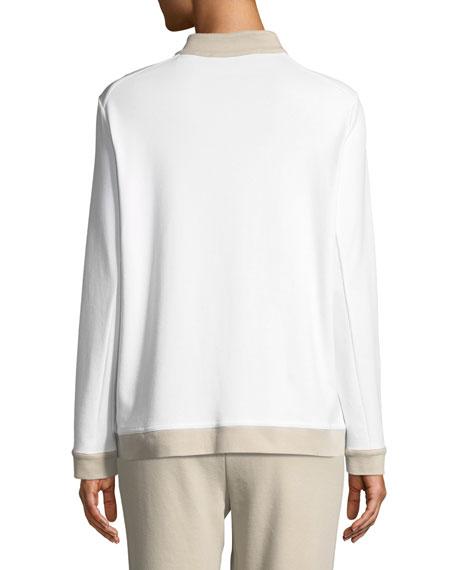 Contrast-Trim Zip-Front Pique Jacket, Plus Size