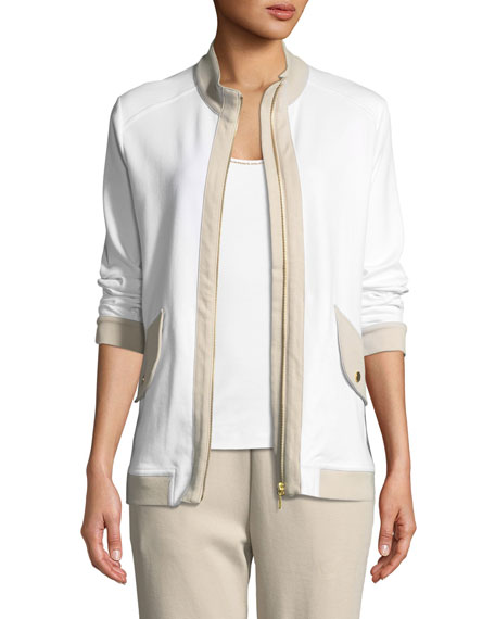 Joan Vass Contrast-Trim Zip-Front Pique Jacket, Plus Size