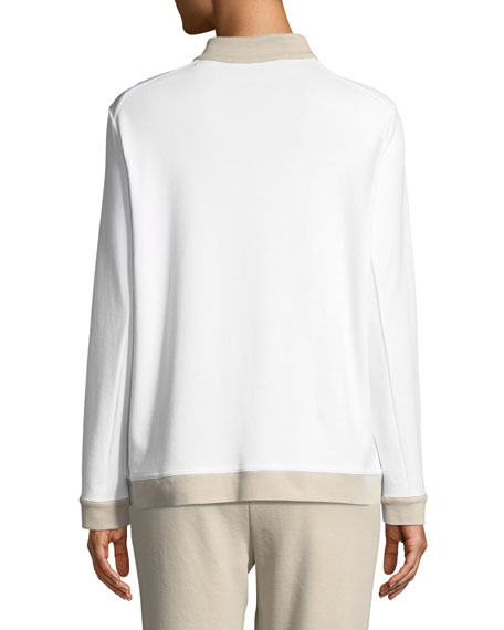 Contrast-Trim Zip-Front Pique Jacket, Petite