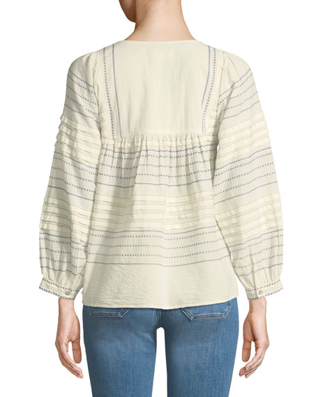 Piper Embroidered Peasant Top