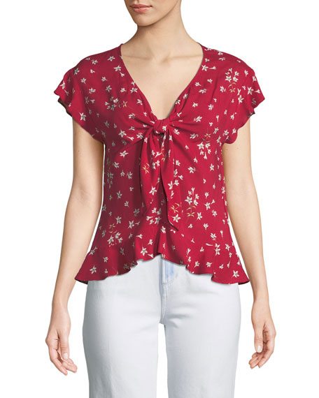Shanola Short-Sleeve Knot-Front Top