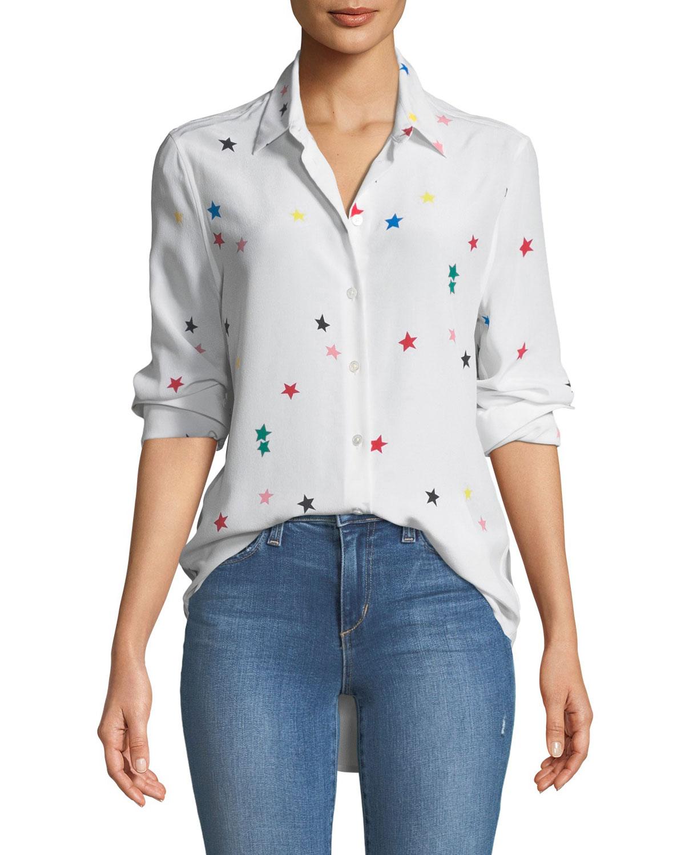 6454b8ceaefa25 Equipment Essential Star-Print Silk Shirt