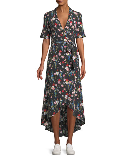 Imogene Floral-Print Silk Long Wrap Dress