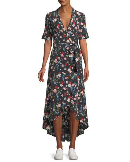 Equipment Imogene Floral-Print Silk Long Wrap Dress