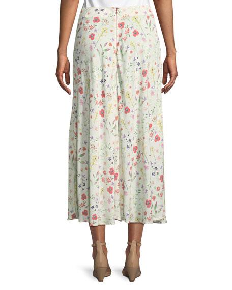 Swan Floral-Print Midi Skirt
