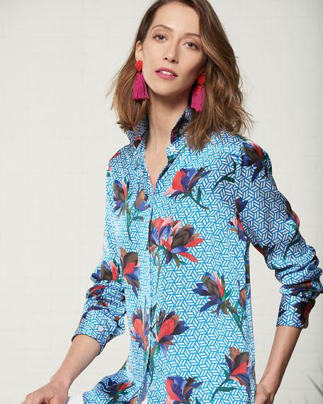 Essential Geometric Bloom Print Silk Shirt