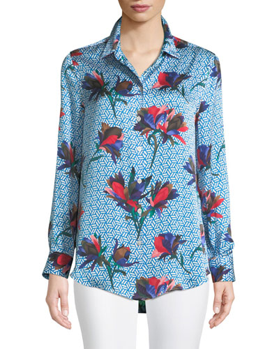 Essential Geometric Bloom Print Silk Shirt