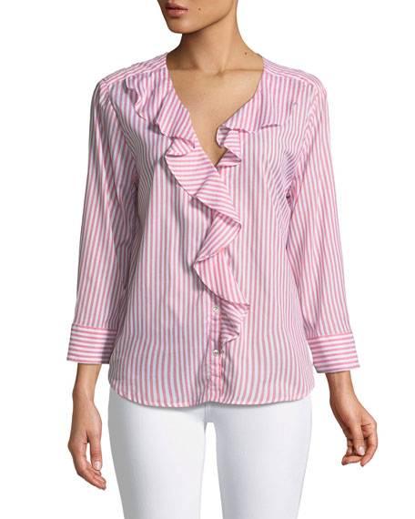 Hama Striped Ruffle Button-Down Top