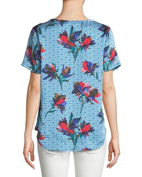 Hana Geometric Bloom-Print Silk Top