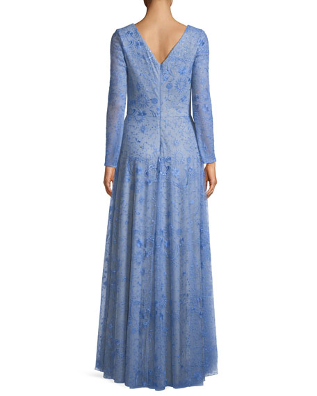 Celestial Lace V-Neck Long-Sleeve Gown