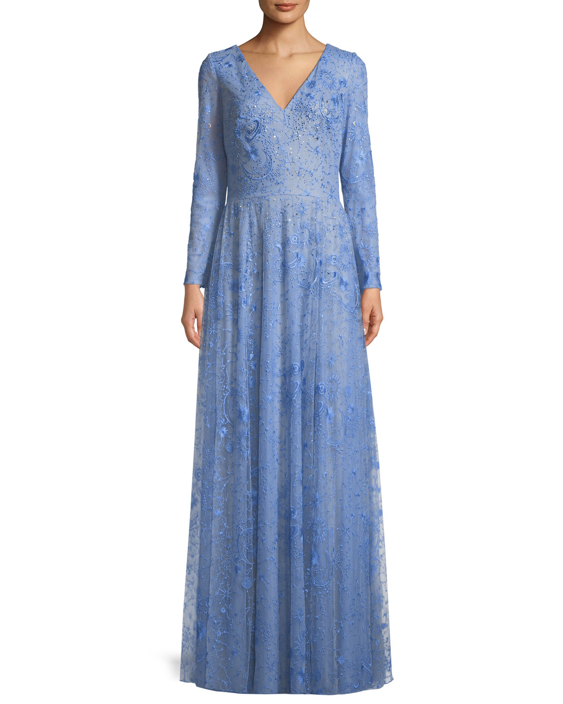 Tadashi Shoji Celestial Lace V-Neck Long-Sleeve Gown | Neiman Marcus