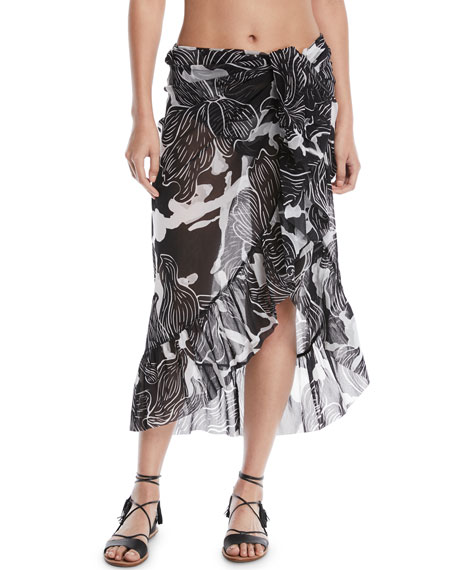 Fuzzi Printed Ruffle Wrap Skirt Pareo and Matching