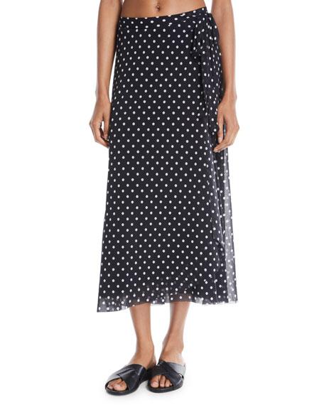 Fuzzi Polka Dot-Print Coverup Wrap Skirt