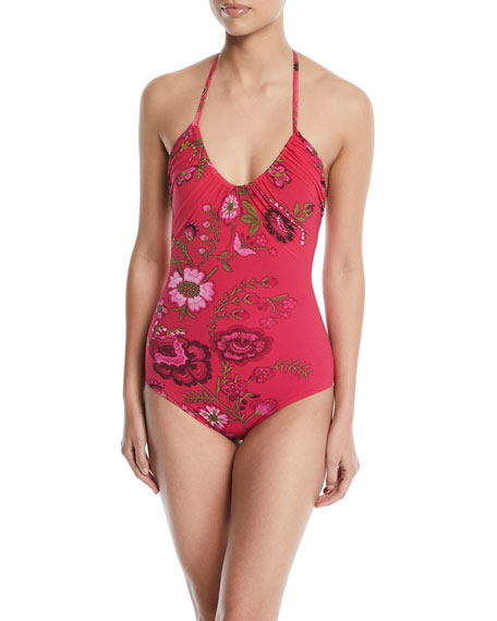 Halter Floral-Print One-Piece Swimsuit