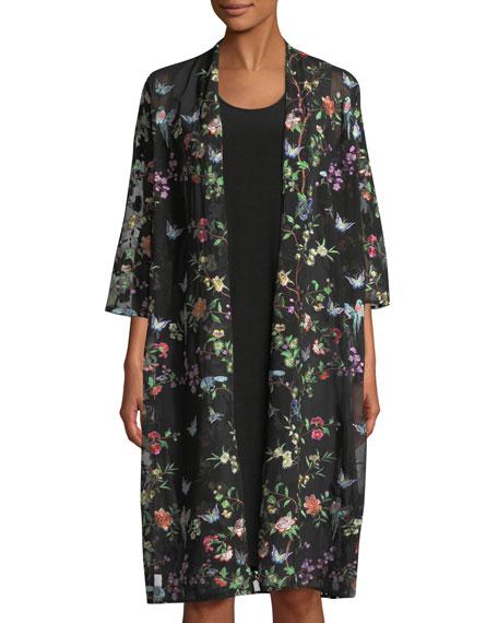 Fluttering Floral Duster Kimono, Plus Size