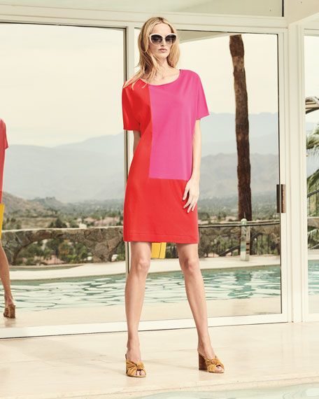 Short-Sleeve Colorblock Dress