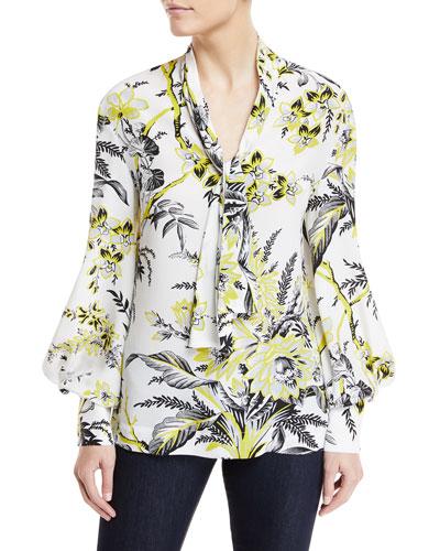High Neck Floral-Print Silk Blouse
