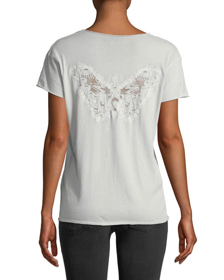 Story Short-Sleeve Fishnet Butterfly Tee