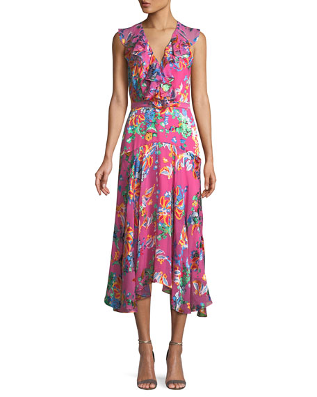 Womens Rita Floral Silk Midi-Dress Saloni 03gblmWQR