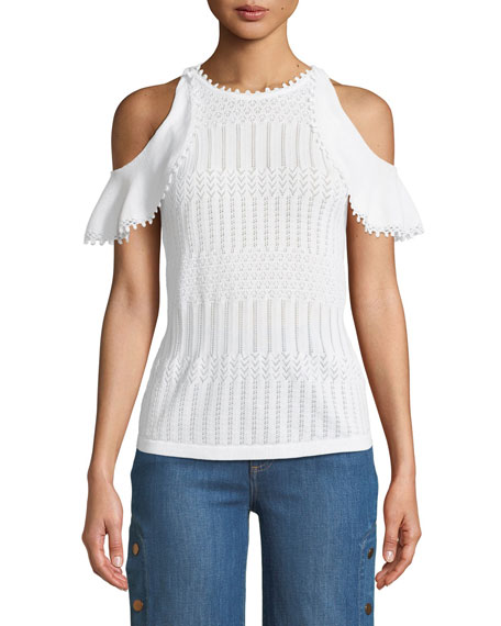 Jonathan Simkhai Lacy Crochet Cold-Shoulder Top