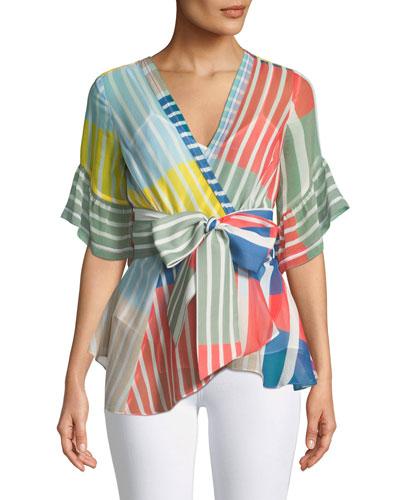 Taylor Striped Colorblock Wrap Top