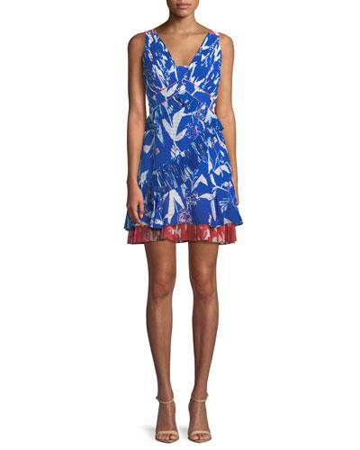 Eva Pleated Parrot Tulip-Print Mini Dress