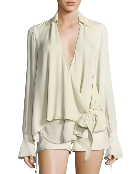 Stagecoach Long-Sleeve Tie-Front Silk Blouse