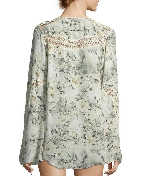 Escape Long-Sleeve Silk Crochet Blouse