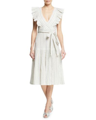 Striped Yarn-Dye Sleeveless Midi Dress