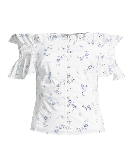 Francine Floral Off-the-Shoulder Button-Front Top