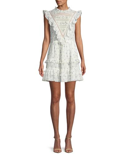 Sleeveless Floral-Print Ruffle-Trim Mini Dress