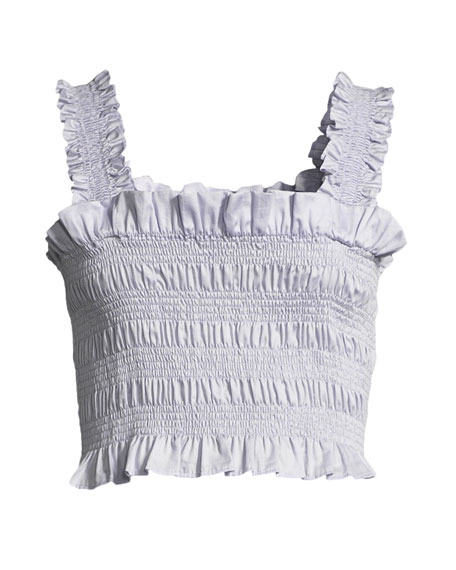 Smocked Sleeveless Ruffle Crop Top