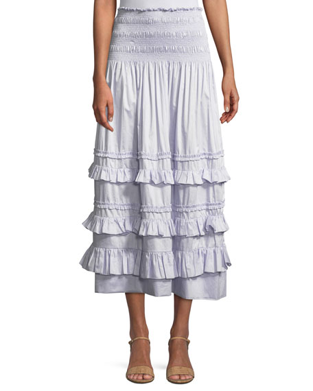 Smocked Ruffle Midi Skirt