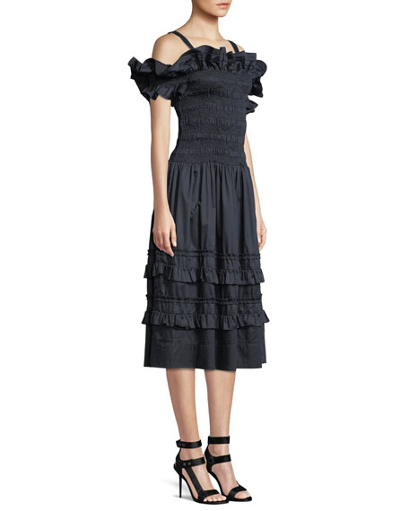 Off-the-Shoulder Smocked Ruffle Dress