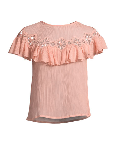 Short-Sleeve Pinwheel Eyelet Ruffle Top