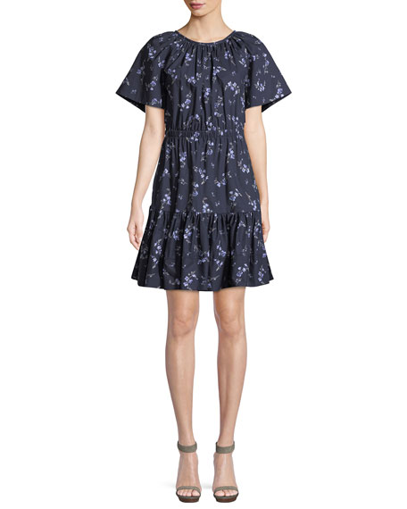 Rebecca Taylor Francine Floral-Print Cotton Dress with Cutout Back