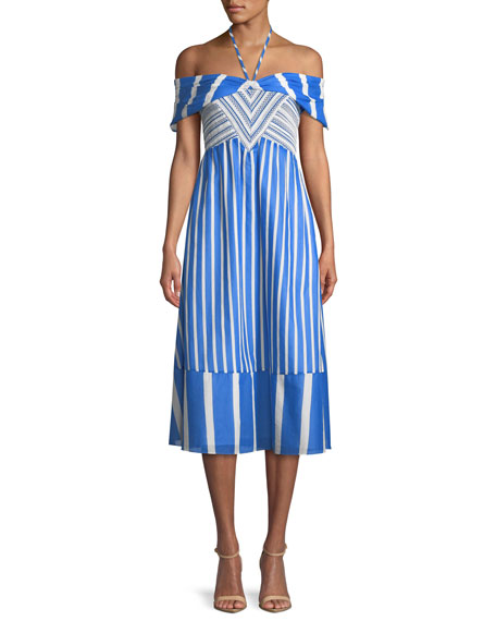Celina Striped Off-the-Shoulder Midi Dress