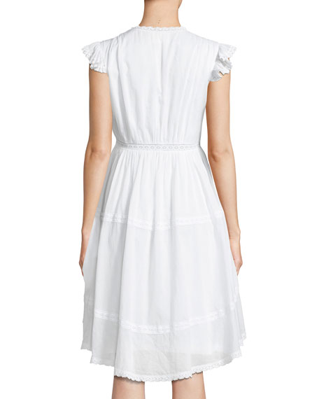 Jourdana Cotton Lace-Trim Dress