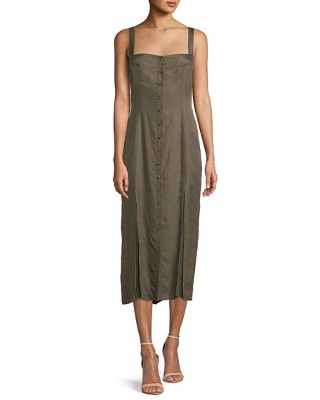 cinq a sept Alexa Sleeveless Button-Front Midi Dress