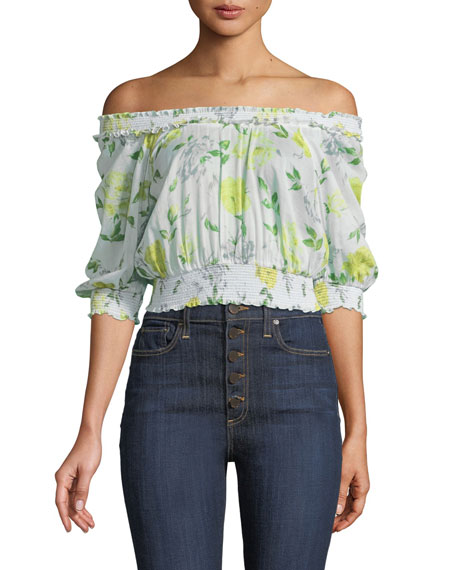 Heidi Off-the-Shoulder Floral Smocked Top