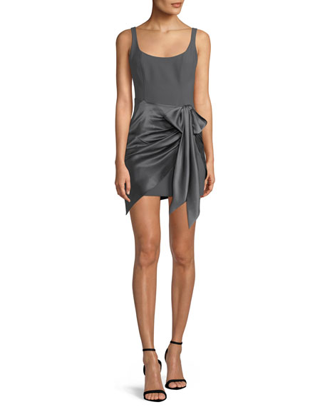 Waverly Satin Overlay Bodycon Dress, Gray