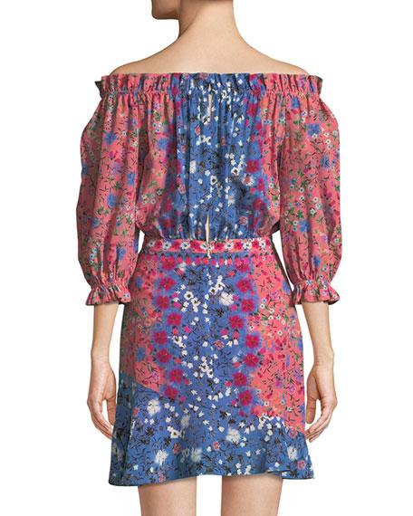 Grace Off-the-Shoulder Floral-Print Silk Mini Dress